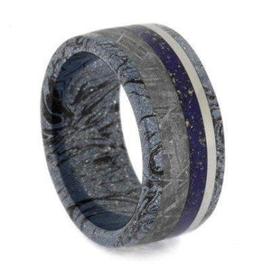 MEN'S RING WITH MOKUME, METEORITE AND LAPIS LAZULI-2047 - Cairo Men's Wedding Rings
