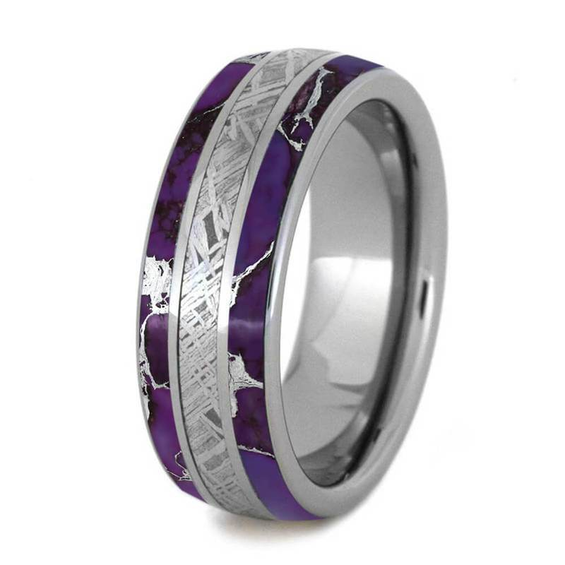 MEN'S WEDDING BAND WITH LIGHTNING TURQUOISE AND METEORITE-4253 - Cairo Men's Wedding Rings