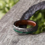 MEN'S WEDDING BAND WITH METEORITE IRONWOOD AND MALACHITE-3787 - Cairo Men's Wedding Rings