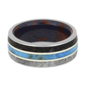METEORITE AND DINOSAUR BONE RING FOR MEN WITH TURQUOISE-3650 - Cairo Men's Wedding Rings