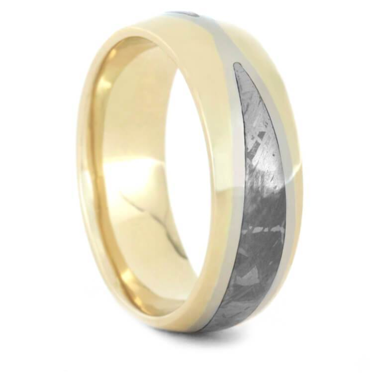 METEORITE MEN'S WEDDING BAND WITH TWO TONE GOLD-3470 - Cairo Men's Wedding Rings