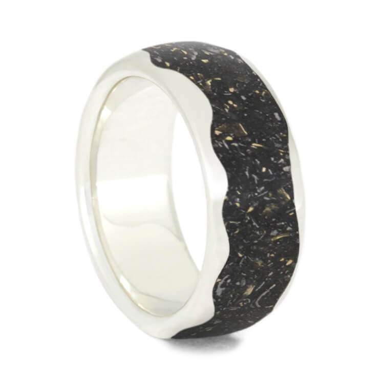 WAVY STARDUST SILVER WEDDING BAND-3708 - Cairo Men's Wedding Rings