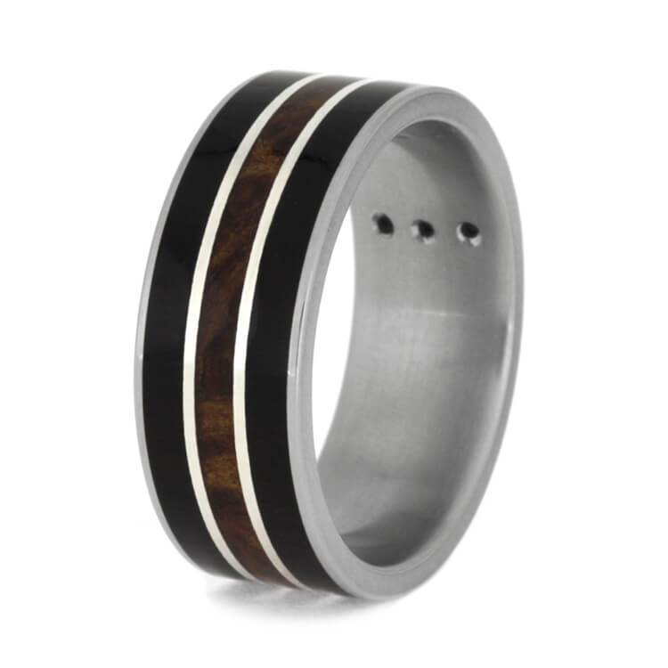 WEDDING BAND WITH BLACKWOOD AND REDWOOD-3640 - Cairo Men's Wedding Rings