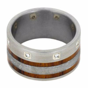 WEDDING BAND WITH TITANIUM AND METEORITE-2141 - Cairo Men's Wedding Rings