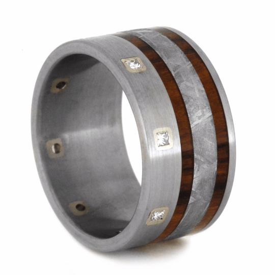 WEDDING BAND WITH TITANIUM AND METEORITE-2141