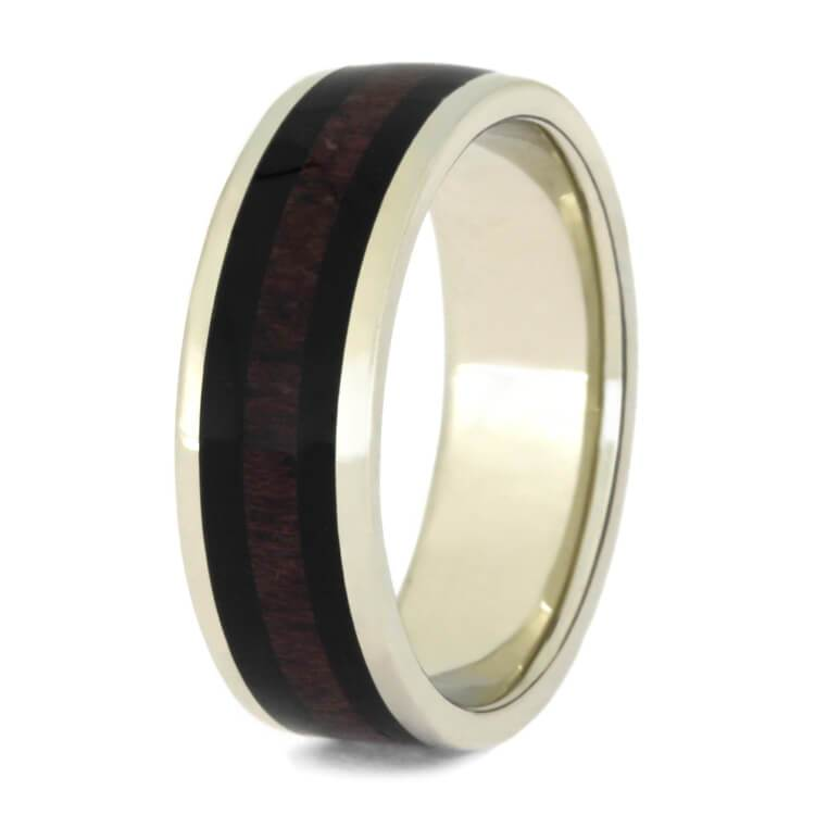 WHITE GOLD BAND WITH PURPLE HEART AND EBONY WOOD-2452 - Cairo Men's Wedding Rings