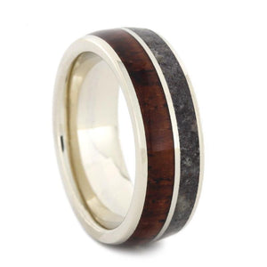 WHITE GOLD DINOSAUR BONE WEDDING BAND WITH WOOD-3162 - Cairo Men's Wedding Rings