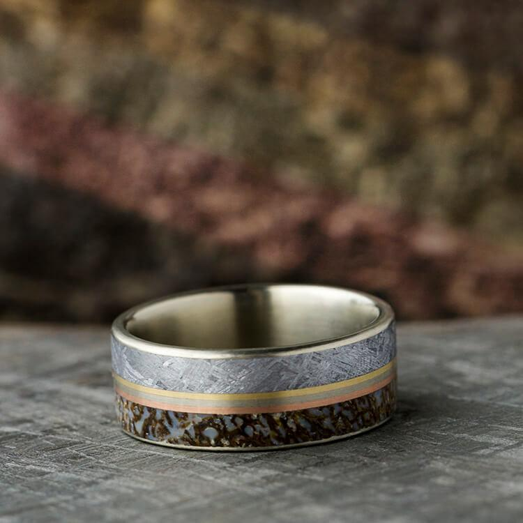 MEN'S WEDDING BAND WITH METEORITE, DINO BONE AND PINSTRIPE-2764 - Cairo Men's Wedding Rings