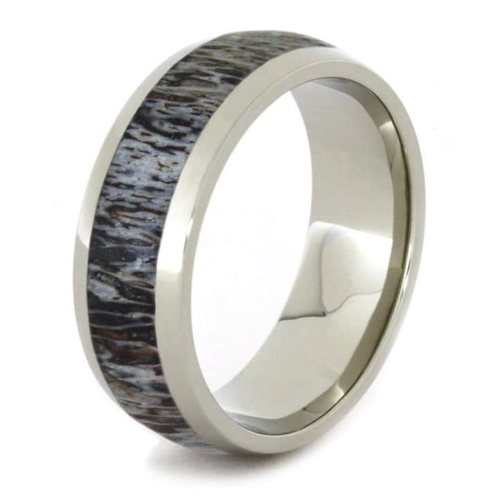 WHITE GOLD RING WITH ANTLER INLAY-1716 - Cairo Men's Wedding Rings