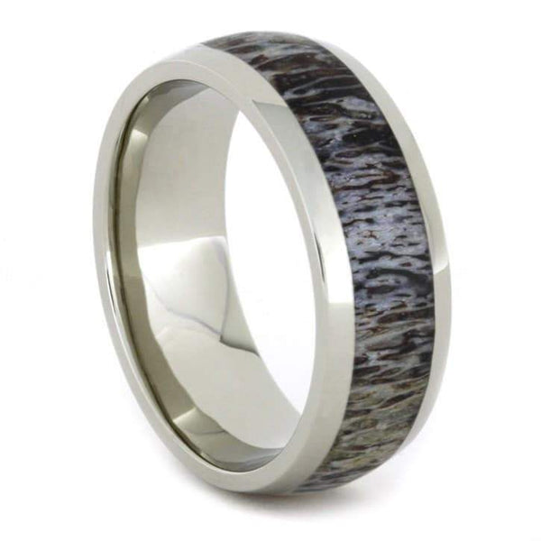 WHITE GOLD RING WITH ANTLER INLAY-1716