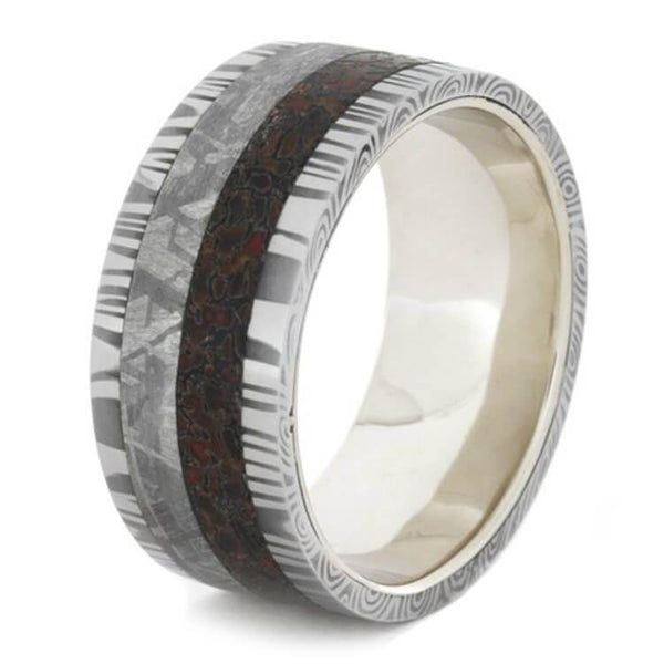 WHITE GOLD RING WITH DAMASCUS, DINOSAUR BONE AND GIBEON METEORITE-1726