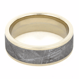 WHITE GOLD RING WITH GIBEON METEORITE-1197 - Cairo Men's Wedding Rings