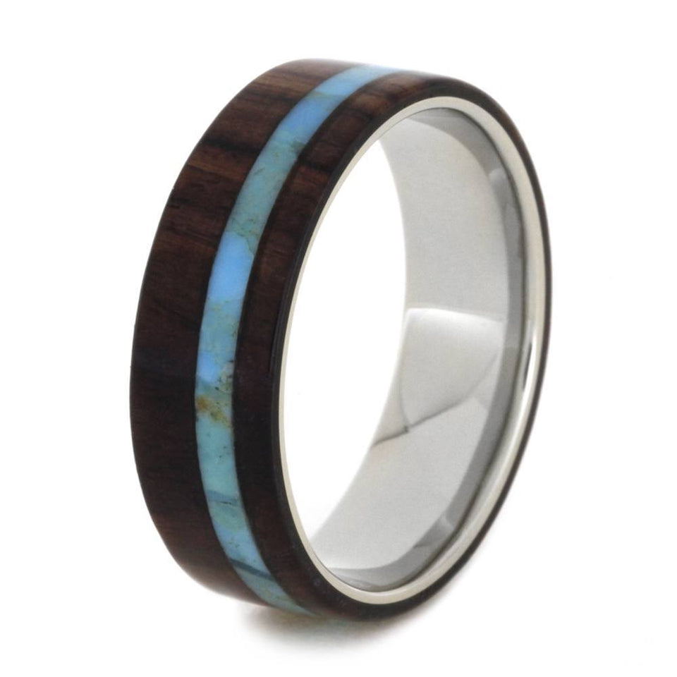 WHITE GOLD WEDDING BAND WITH KINGWOOD AND TURQUOISE-2003 - Cairo Men's Wedding Rings