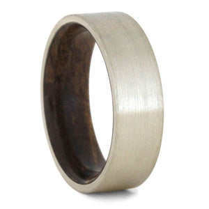 WHITE GOLD WEDDING BAND, WOOD RING WITH BRUSHED FINISH-2281 - Cairo Men's Wedding Rings