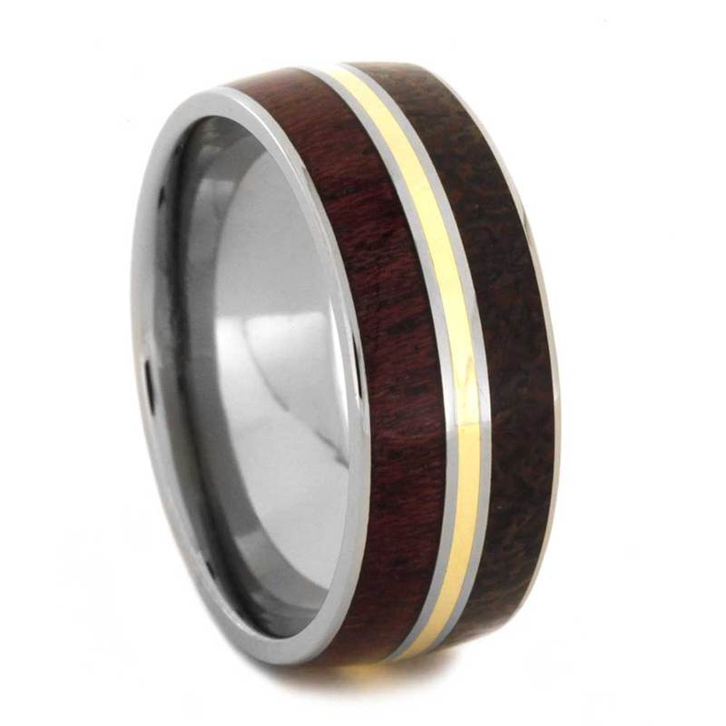 RING WITH DINOSAUR BONE AND PURPLE HEART WOOD-2849 - Cairo Men's Wedding Rings