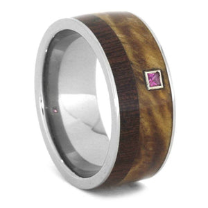 WOOD WEDDING BAND WITH RUBY IN WHITE GOLD-3221 - Cairo Men's Wedding Rings