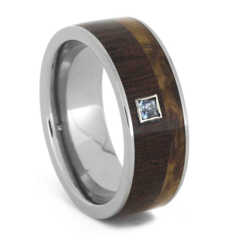 MULTIPLE WOOD WEDDING BAND WITH AQUAMARINE STONE-3219 - Cairo Men's Wedding Rings