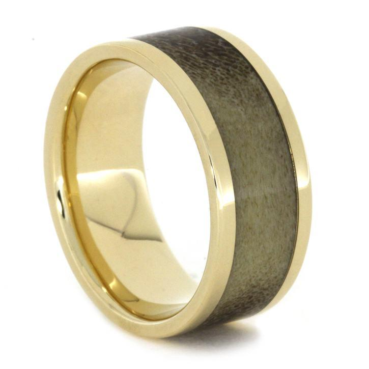 YELLOW GOLD BAND WITH ANTLER-1825 - Cairo Men's Wedding Rings