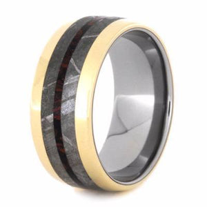 YELLOW GOLD BAND WITH METEORITE AND MOKUME-2195 - Cairo Men's Wedding Rings