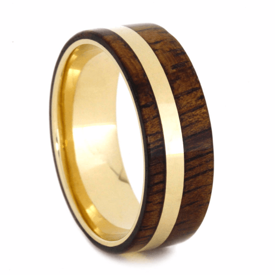 YELLOW GOLD KOA WOOD BAND-2077 - Cairo Men's Wedding Rings