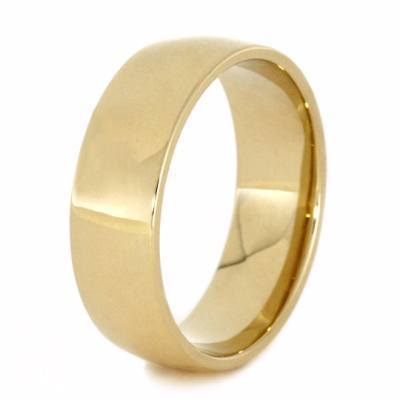 YELLOW GOLD WEDDING BAND WITH METEORITE-2120 - Cairo Men's Wedding Rings