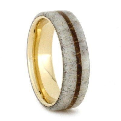 YELLOW GOLD RING WITH DEER ANTLER AND OAK WOOD-1804 - Cairo Men's Wedding Rings