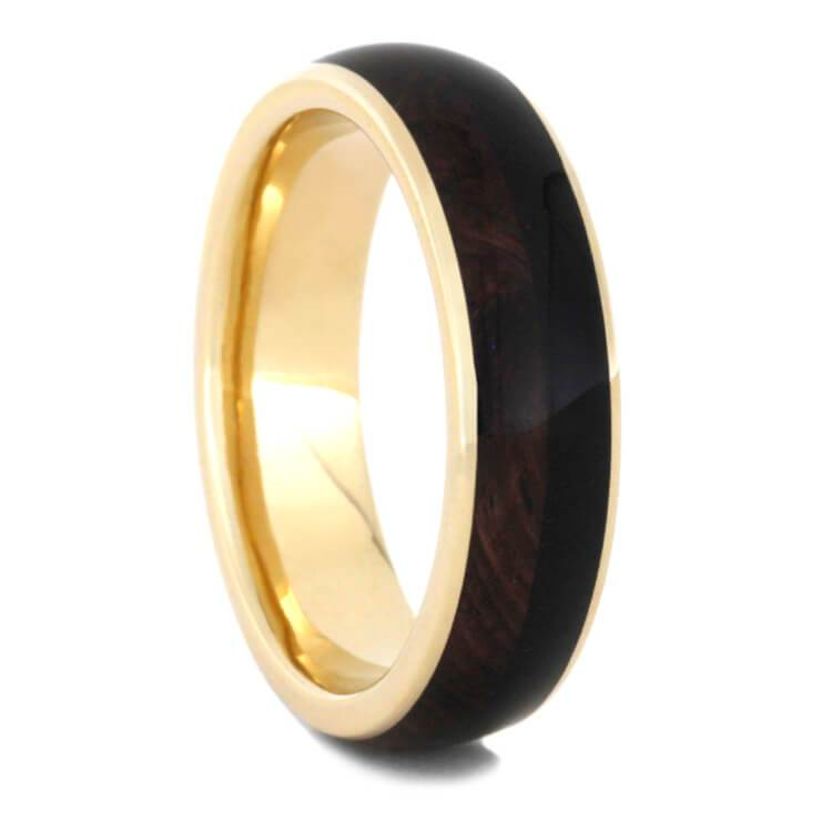YELLOW GOLD WEDDING BAND WITH BLACKWOOD AND ROSEWOOD-2307 - Cairo Men's Wedding Rings