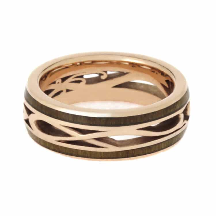 Custom Rose Gold Wedding Band, Cherry Wood Ring-3717