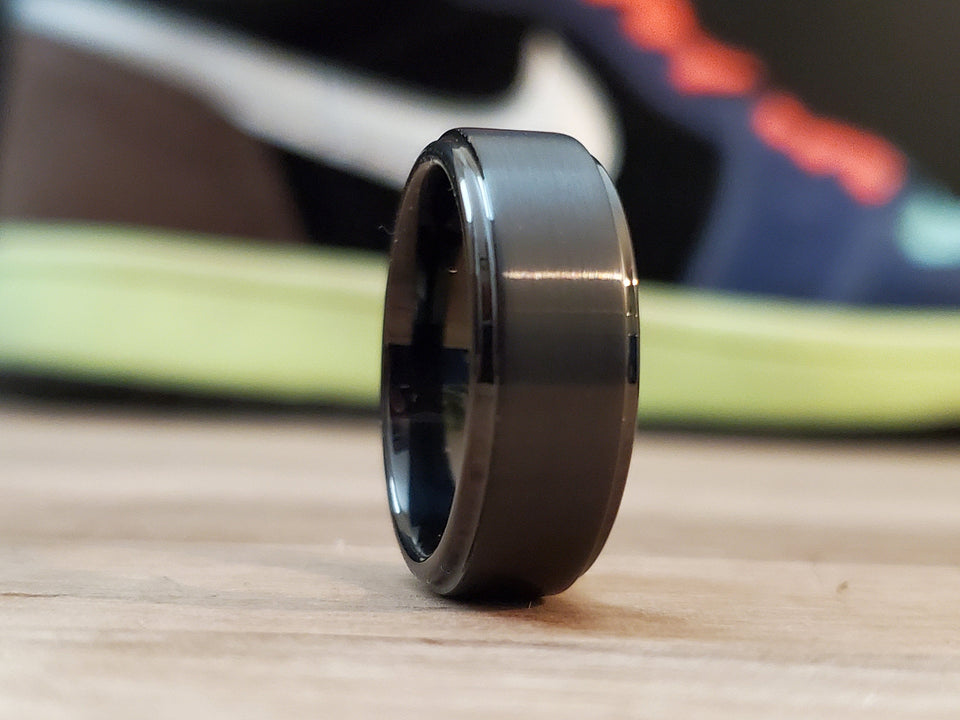 Black Mens Tungsten wedding band 6mm/8mm customized unisex matching ring set