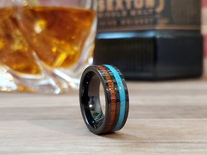 Black Turquoise & Koa Wood Tungsten Mens Wedding Band 8mm/6mm