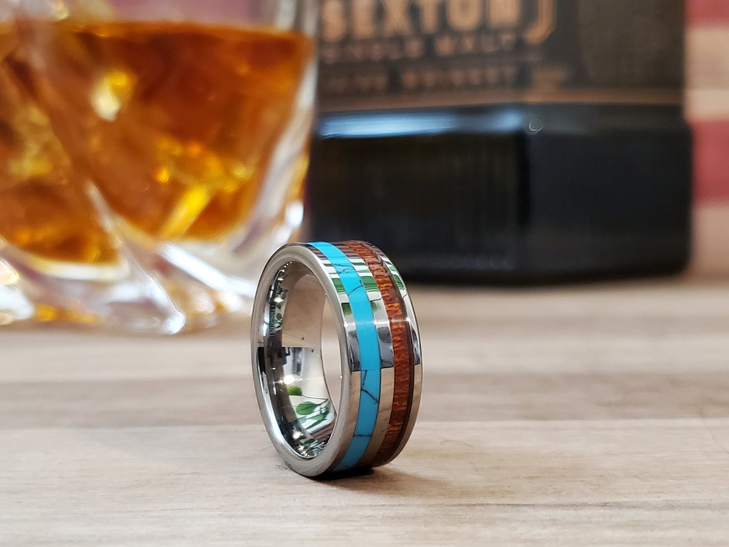 Silver Turquoise & Koa Wood Tungsten Mens Wedding Band 8mm/6mm