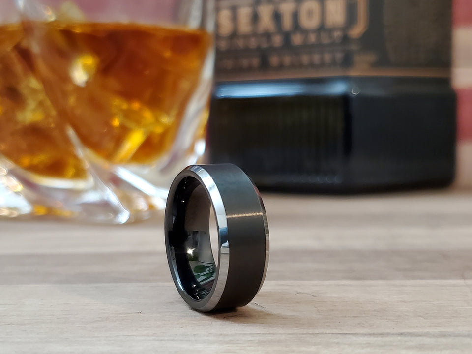 THE DEBONAIRE™ his/hers black tungsten ring silver edge comfort fit wedding band