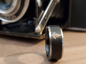Black Masonic Symbol Tungsten Ring Men's Freemason's Band