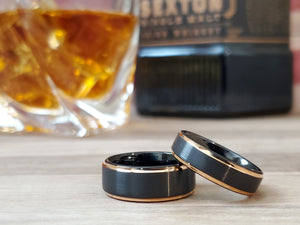 Rose Gold Tungsten Carbide Ring Black Brushed wedding band