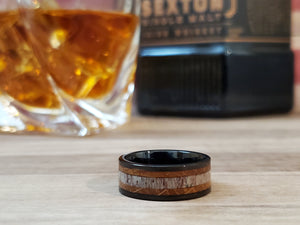 Tungsten Deer Antler & Whiskey Barrel Wood Wedding Band Ring 8mm/6mm