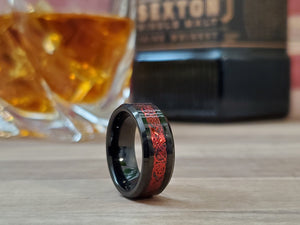 Red Celtic Mens Tungsten wedding band 6mm/8mm customized unisex matching ring set