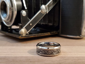 Silver Celtic Mens Tungsten wedding band silver 6mm/8mm customized unisex matching ring set