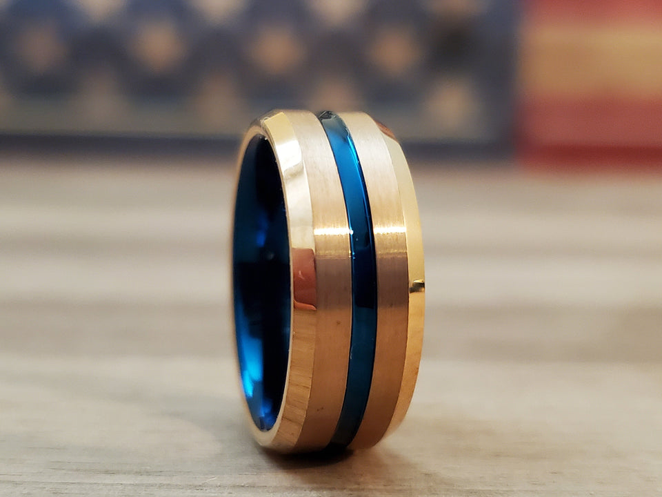 BLUEHERO Thin Blue Line Tungsten Ring Men's Law enforcement Ring Thin Blue Line Brushed Wedding Band