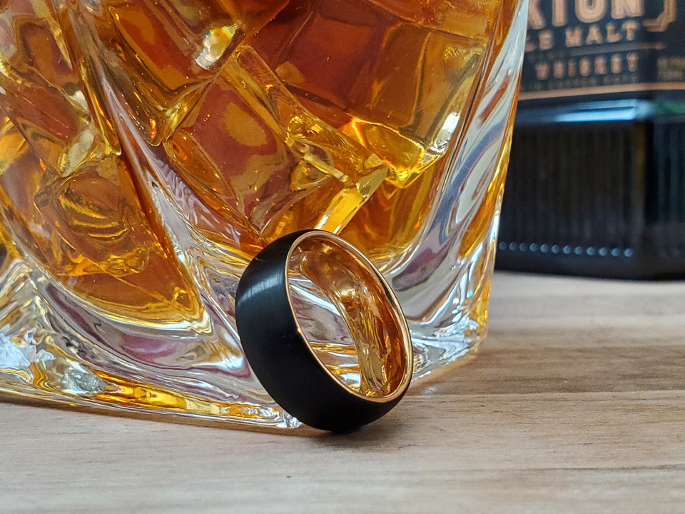 Black gold Mens Tungsten wedding band 6mm/8mm customized unisex matching ring set