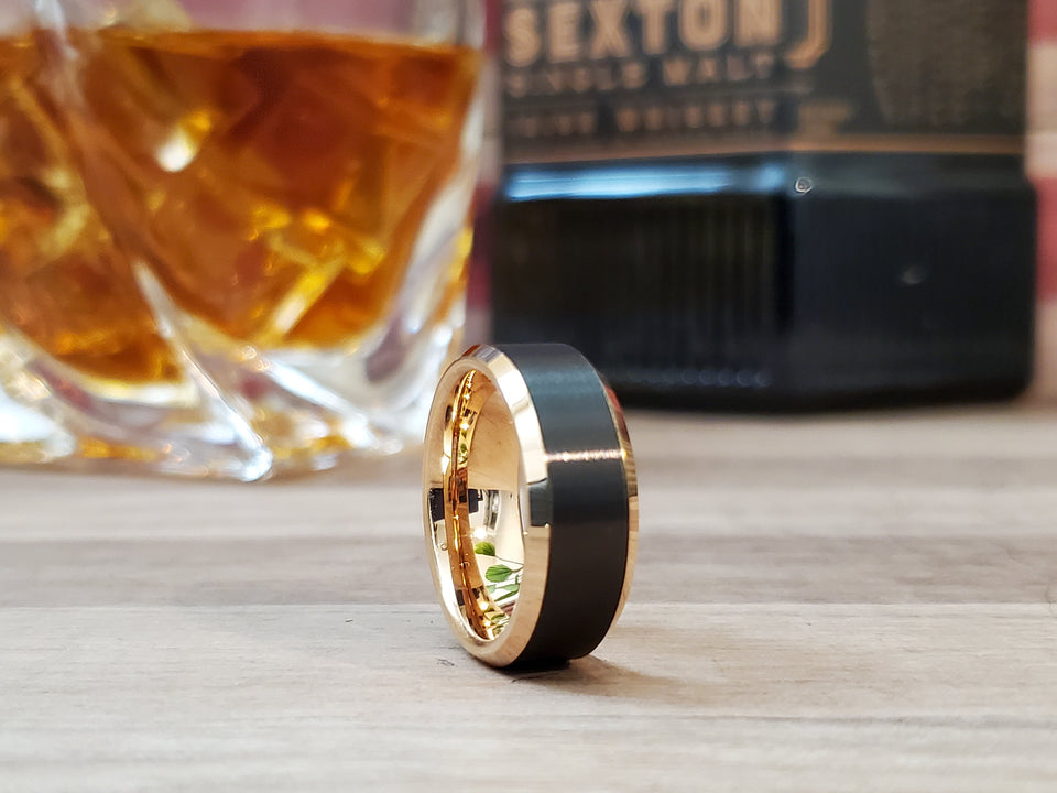 THE DEBONAIRE™ his/hers black tungsten ring rose gold edge comfort fit wedding band