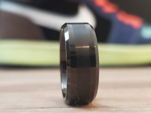 Brushed Center black 8mm Tungsten Carbide ring Wedding Band Mens Jewelry