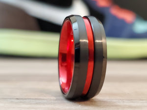 Thin Red Line Black Tungsten Men's Ring-Firefighters First Responders wedding band