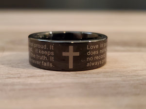 Scripture 1 Corinthians 13:4 Black Tungsten Bible Verse Love Wedding Band Ring
