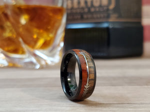 Black Tungsten Mens Wood & Arrow Wedding Band Ring - Engraving Available 8mm/6mm