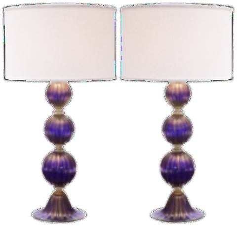 3 SPHERE LAMP BLUE/GOLD  pair