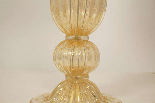 """Avventurina"" Gold Murano Glass Lamps (pairs)"