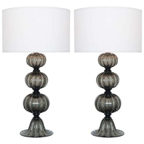 "Smoked ""Pulegoso"" Glass Table Lamps (pairs)  \"