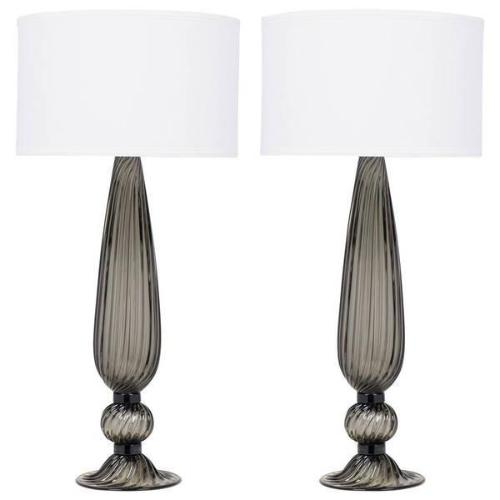 """Acciaio"" Blown Glass Lamps (Pair)"