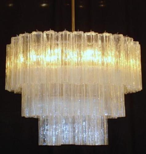 VENINI DESIGN 3 LEVEL OVAL TRONCHI CHANDELIER