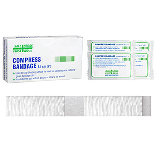 "COMPRESS BANDAGE, 5.1 X 5.1 cm (2"" x 2"") 4/BOX"
